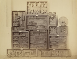 Miscellaneous sculpture pieces and fragments from the lower monastery at Nutta, Peshawar District